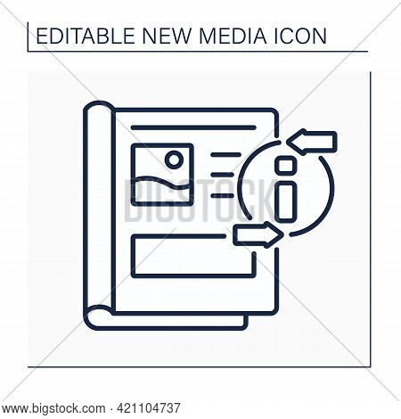 Magazine Line Icon. Periodical Publication. Articles For Everyone. Information Space. Important News