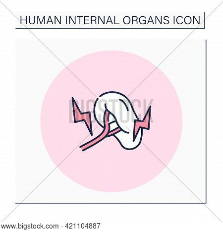 Spleen Color Icon. Inflammatory Process In Blood Filter.medical Treatment. Cancer. Human Internal Or