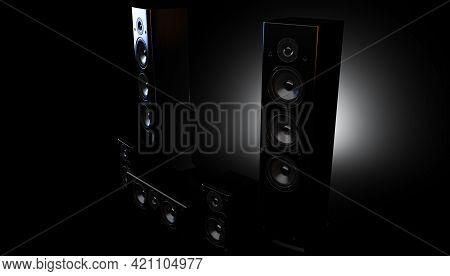 A Modern Surround Sound Speaker Arrangment On A Dark Backlit Studio Background - 3d Render