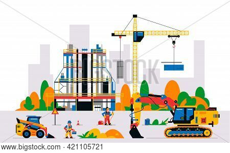 Construction Site With Equipment And Workers. Building Under Construction Against The Background Of