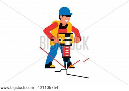 Worker Working With A Jackhammer. Male Builder And Electric Jackhammer, Power Tool, Road Works, Repa