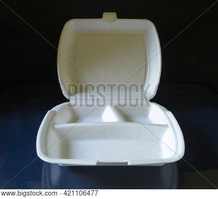 Empty Styrofoam Container For Food.empty Container On Black Background