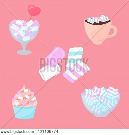Marshmallow Set Isolated. Sweet White, Pink And Blue Marshmallow Desserts Collection. Vector Illustr
