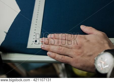 Tailor Man Working In His Tailor Shop, Tailoring With Close Up