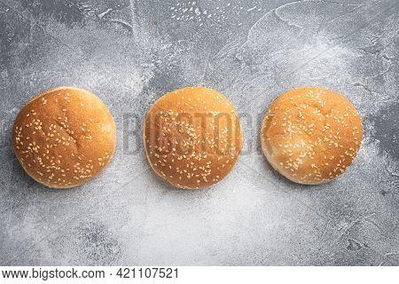 Hamburger Bread Homemade Brioche Hamburger Buns Set, On Gray Background, Top View Flat Lay, With Cop