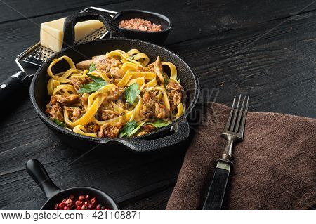 Wild Hare With Vegetable In White Wine Sauce Pasta Tagliatelle Or Pappardelle Set, In Frying Cast Ir
