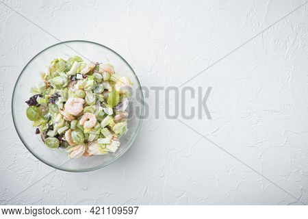 Healthy Food Concept, Diet Salad Plate. Fresh Seafood Salad With Prawns Or Shrimp Set , With Sauce A