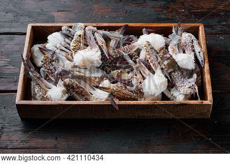 Horse Crab, Blue Crab, Flower Crab Frozen In Ice Set, In Wooden Box, On Dark Wooden Background