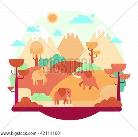 Three Elephants - Flat Cartoon Vector Illustration In Orange Color, African Landscape