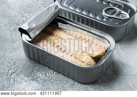 Canned Mackerel Fillets In Tin Set, In Tin Can, On Gray Background
