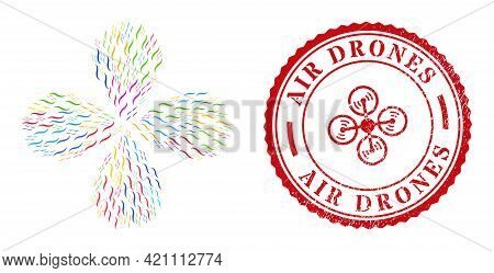 Air Multi Colored Centrifugal Flower With Four Petals, And Red Round Air Drones Rough Watermark. Air