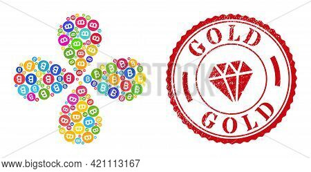 Bitcoin Gold Coin Bright Swirl Flower With Four Petals, And Red Round Gold Scratched Stamp. Bitcoin