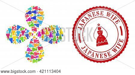 Bride Dress Colorful Twirl Flower With Four Petals, And Red Round Japanese Wife Corroded Badge. Brid