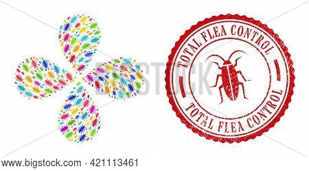Bug Colored Twirl Flower With Four Petals, And Red Round Total Flea Control Textured Rubber Print. B