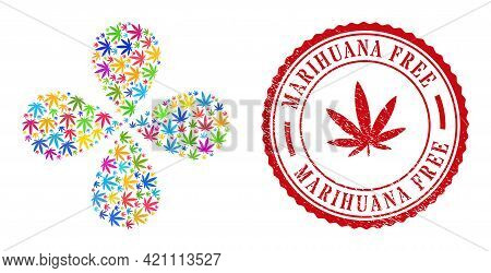 Cannabis Multicolored Swirl Abstract Flower, And Red Round Marihuana Free Corroded Stamp Print. Cann