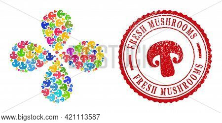 Champignon Mushroom Colorful Exploding Flower With 4 Petals, And Red Round Fresh Mushrooms Corroded