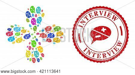 Chat Arguments Colorful Swirl Flower Shape, And Red Round Interview Dirty Stamp Seal. Chat Arguments