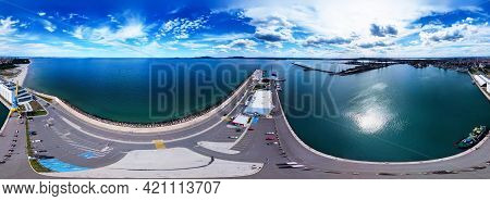 Beautiful 360 Degree Panoramic View Of The Burgas Bay And The Seaport Of Burgas, Bulgaria.