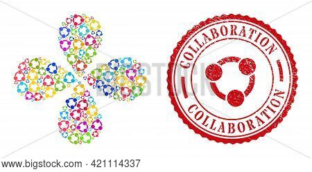 Collaboration Colorful Exploding Flower With 4 Petals, And Red Round Collaboration Grunge Stamp Prin