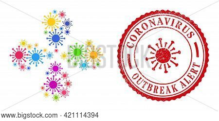 Contagious Virus Multicolored Swirl Motion, And Red Round Coronavirus Outbreak Alert Scratched Stamp