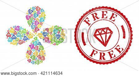 Diamond Multicolored Curl Flower With 4 Petals, And Red Round Free Rubber Stamp Seal. Diamond Symbol
