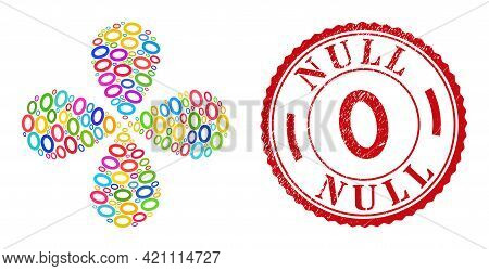 Digit Zero Colored Curl Flower Shape, And Red Round 0 Grunge Stamp Seal. Digit Zero Symbol Inside Ro