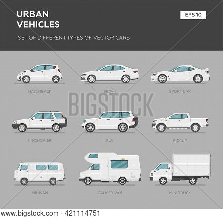 Cars Over Grey Background, Vector Illustration. Collection Car Set - Sedan, Van, Truck, Suv, Sport C