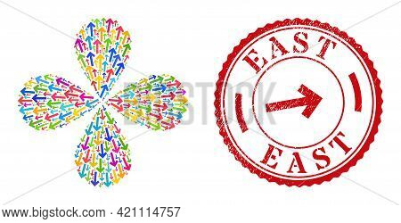 Direction Arrow Multi Colored Explosion Abstract Flower, And Red Round East Rough Stamp Print. Direc