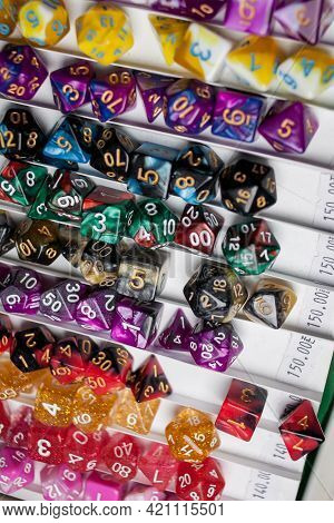 Game Dice. Bones For Table Games, Unusual Game Dice. Colored Bones For Table Games. Dice With Number