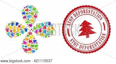 Fir Tree Bright Rotation Flower With 4 Petals, And Red Round Stop Deforestation Rough Stamp Print. F