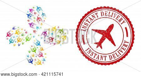 Flying Airplane Trace Colorful Exploding Flower With Four Petals, And Red Round Instant Delivery Unc