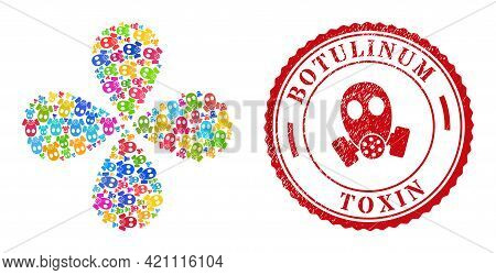 Gas Mask Multi Colored Exploding Flower Shape, And Red Round Botulinum Toxin Corroded Stamp Print. G