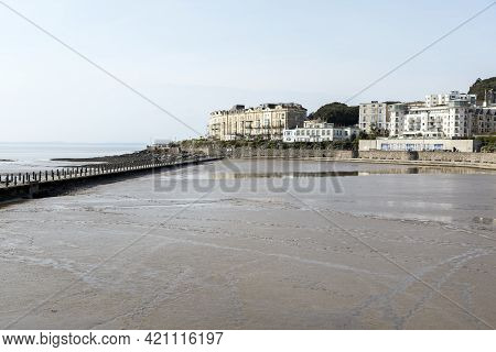 Weston-super-mare, Uk - April 20, 2021: The Marine Lake After It Had Been Drained As The First Stage