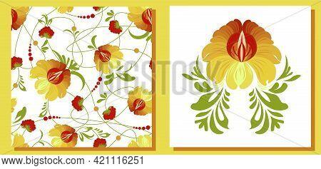 Ethnic Ukrainian Pattern. Petrikovskaya Painting. Traditional Ukrainian Painting. Abstract Flowers O