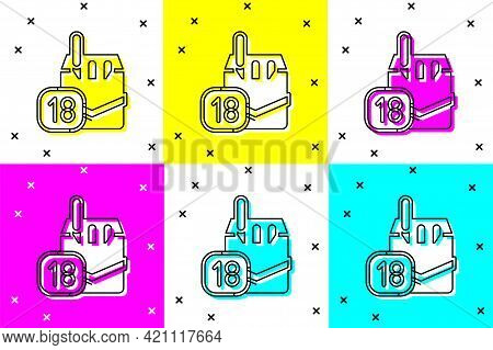 Set Cigarettes Pack Box Icon Isolated On Color Background. Age Limit For Cigarettes. Cigarettes Pack