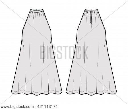Dress Trapeze Tent Technical Fashion Illustration With Sleeveless, Oversized Body, Knee Length, Band