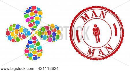 Man Profile Multicolored Centrifugal Flower With 4 Petals, And Red Round Man Grunge Stamp Imitation.