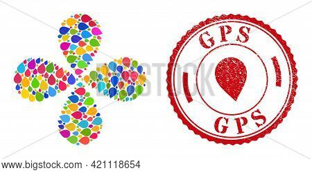 Map Marker Colored Explosion Flower Cluster, And Red Round Gps Rubber Stamp. Map Marker Symbol Insid