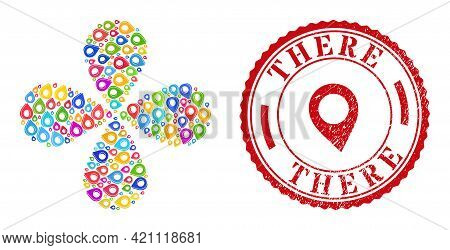 Map Marker Shadow Multicolored Curl Abstract Flower, And Red Round There Grunge Rubber Print. Map Ma