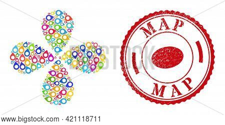 Map Pointer Bright Explosion Abstract Flower, And Red Round Map Scratched Badge. Map Pointer Symbol