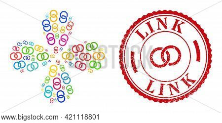 Marriage Rings Multi Colored Exploding Spin, And Red Round Link Grunge Stamp Seal. Marriage Rings Sy