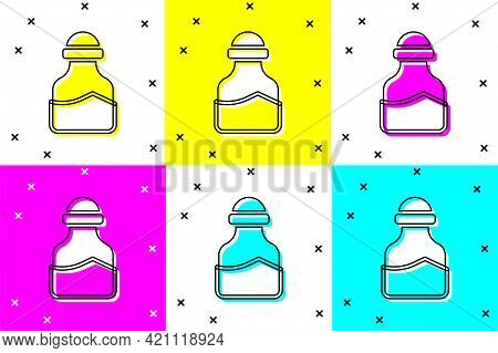 Set In Can Icon Isolated On Color Background. Seasoning Collection. , Condiments In A Glass Can. Vec