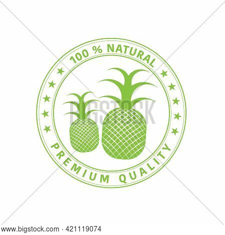 Pineapple Icon. Premium Quality Package Label. Vintage Stamp. Designed For Pineapple Products