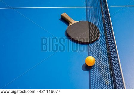 Blue Table Tennis Or Ping Pong. Outdoor Tablet Tennis. Close-up Ping-pong. Accessories For Table Ten