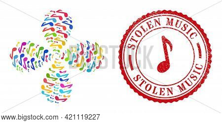 Music Note Multicolored Twirl Flower With Four Petals, And Red Round Stolen Music Rubber Watermark.