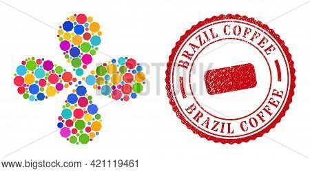 Octagon Bright Rotation Flower With 4 Petals, And Red Round Brazil Coffee Rubber Stamp Print. Octago