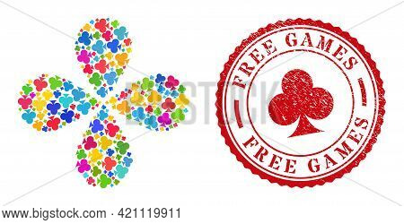 Playing Card Club Suit Colored Exploding Flower Cluster, And Red Round Free Games Rubber Stamp. Play