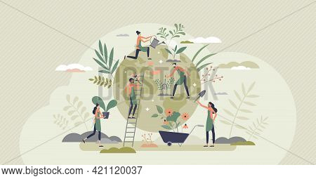 Ecology Agriculture And Green Sustainable Harvesting Tiny Person Concept. Environmental Gardening An