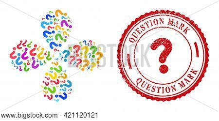 Question Mark Colorful Twirl Flower Cluster, And Red Round Question Mark Scratched Stamp Print. Ques