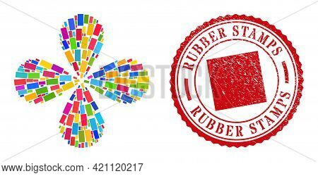 Rectangle Colorful Twirl Burst, And Red Round Rubber Stamps Corroded Rubber Print. Rectangle Symbol